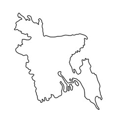 bangladesh map of black contour curves on white vector image vector image