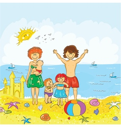 family at the beach vector image vector image
