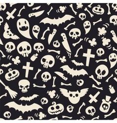 Halloween Symbols Seamless Pattern Contrast vector image vector image