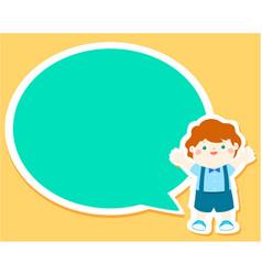 happy little boy kid with empty speech bubble vector image vector image