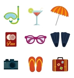 icons of summer vector image