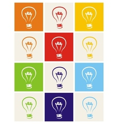 Light bulb icon hand drawn set isolated on white vector image vector image