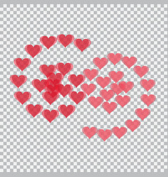 Red hearts translucent arranged in the form of vector