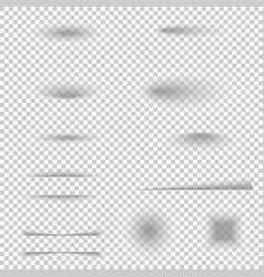 transparent realistic shadow effect set vector image