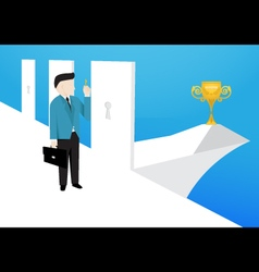 Businessman is choose a right doors to enter it vector image