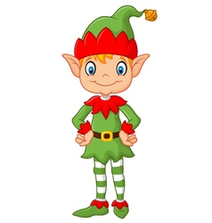 Cartoon Cute Christmas elf posing vector image vector image