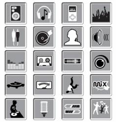 dance music icons vector image vector image