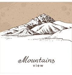 Mountains and lake white vector image vector image