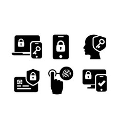 authentication icons set 02 in black and white vector image vector image