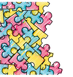 grated puzzle pieces game background design vector image vector image