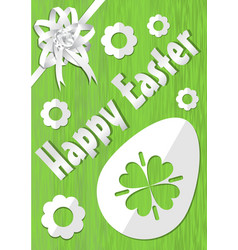 happy easter poster with white paper cuted egg vector image