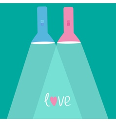Pink flashlights with rays of light Flat design vector image