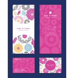 vibrant floral scaterred vertical frame pattern vector image