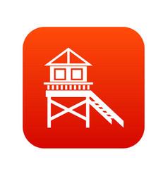 wooden stilt house icon digital red vector image vector image