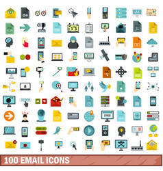 100 email icons set flat style vector image