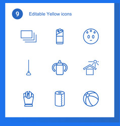 9 yellow icons vector image