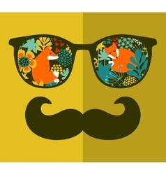 Abstract portrait of man in sunglasses and with vector image