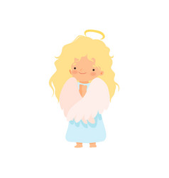 adorable blonde girl angel with nimbus and wings vector image