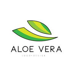 aloe vera logo design natural product badge vector image
