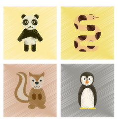 Assembly flat shading style icons panda bear vector