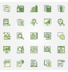 Audit green icons collection vector image