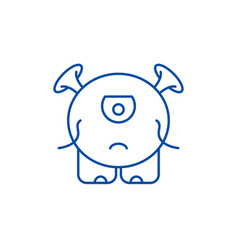 baby monster line icon concept baby monster flat vector image