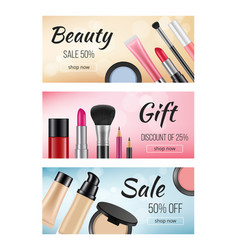 banners of cosmetics design template of vector image
