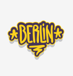 berlin germany urban label sign logo hand draw vector image