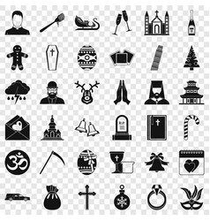 Bible icons set simple style vector