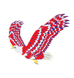Blue red and white bald eagle vector