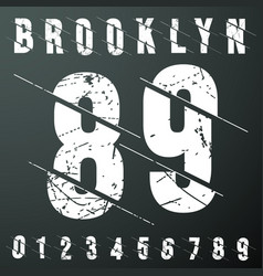 brooklyn numbers vintage t-shirt stamp vector image