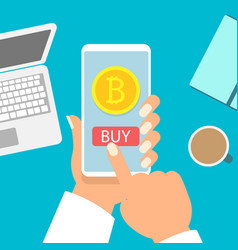 business woman holding smartphone with bitcoin vector image