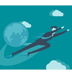 Businessman flying in the sky vector
