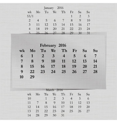 calendar month for 2016 pages February start vector image