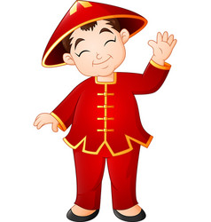 cartoon chinese boy wearing traditional costume vector image