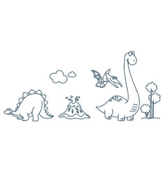 character love dinosaurs dino character reptile vector image