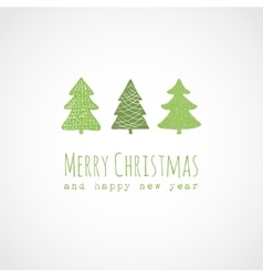 Christmas card with decorative trees vector
