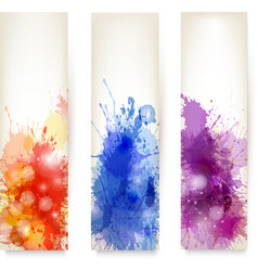 Collection colorful abstract watercolor banners vector