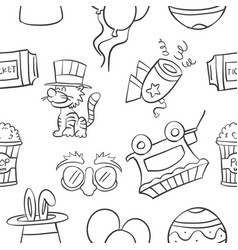 Collection stock of circus object doodles vector
