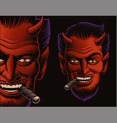coloured of a devil face smoking a cigar vector image