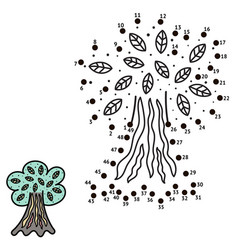 connect the dots and draw a tree vector image