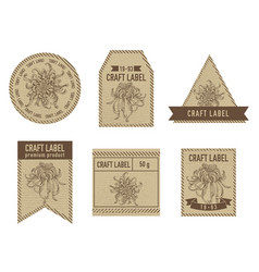 Craft labels with japanese chrysanthemum hand vector