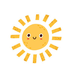 cute happy summer sun character with funny smiling vector image