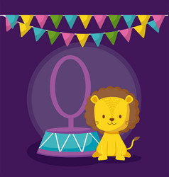 cute lion in ring with garlands icon vector image