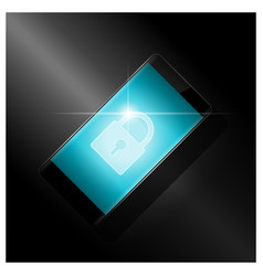 cyber security with lock icon on smartphone screen vector image