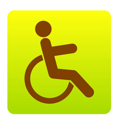 Disabled sign brown icon at vector
