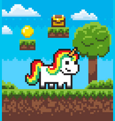 fairytale pixel game unicorn superhero vector image