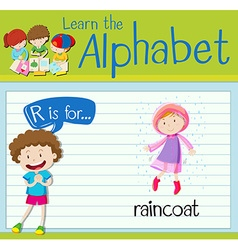 Flashcard alphabet R is for raincoat vector image