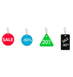 four colored price tags vector image