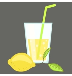 Fresh cold lemonade Glass of citrus juice Lemon vector